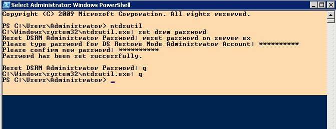 Reset password for DSRM