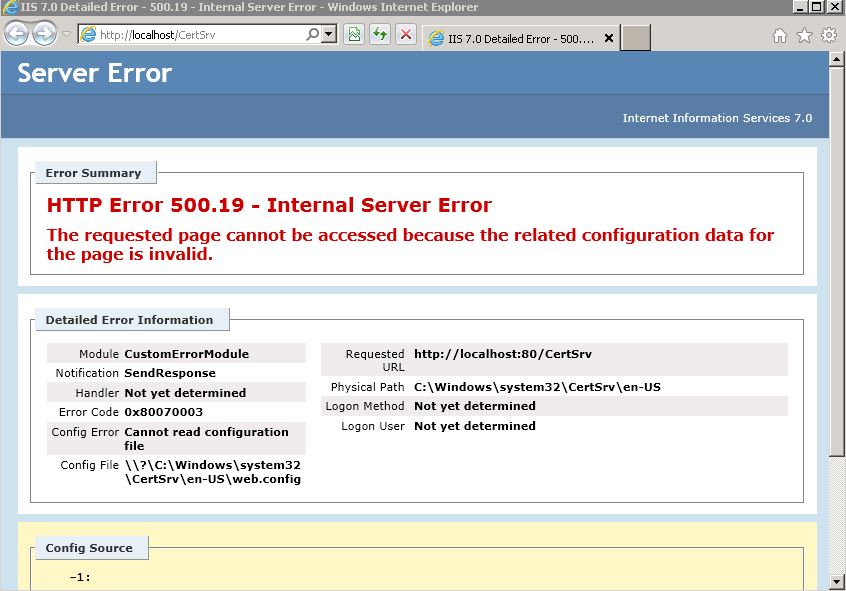 CertSrv HTTP Error 500.19 Windows 2008 64 Bit