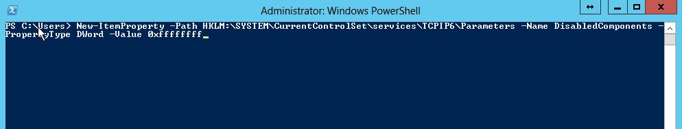 How to disable IPV6 on Windows Server 2012 r2 and Windows Server 2012 from power shell