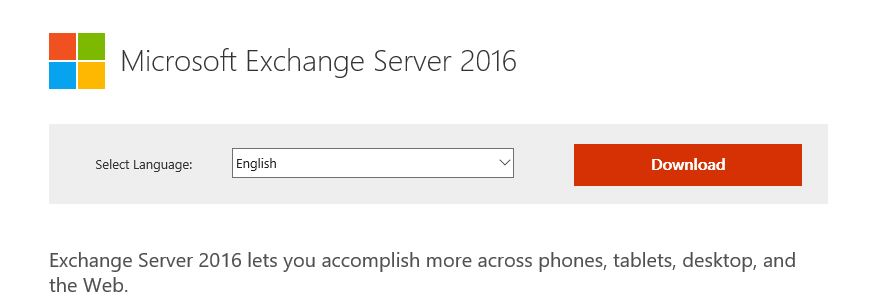 Download the Exchange 2016 RTM