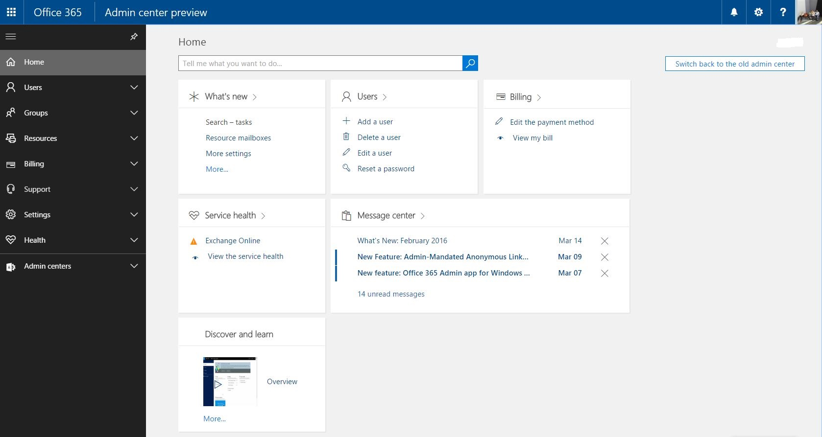 Office 365 Admin Center Preview