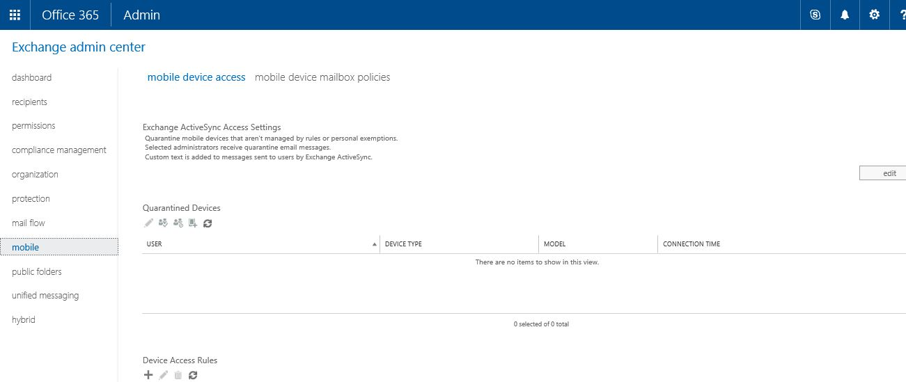 Office 365 Exchange ActiveSync Access Settings mobile device access