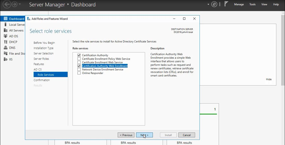 How to install Enterprise Root Certificate Authority in Windows Server 2016