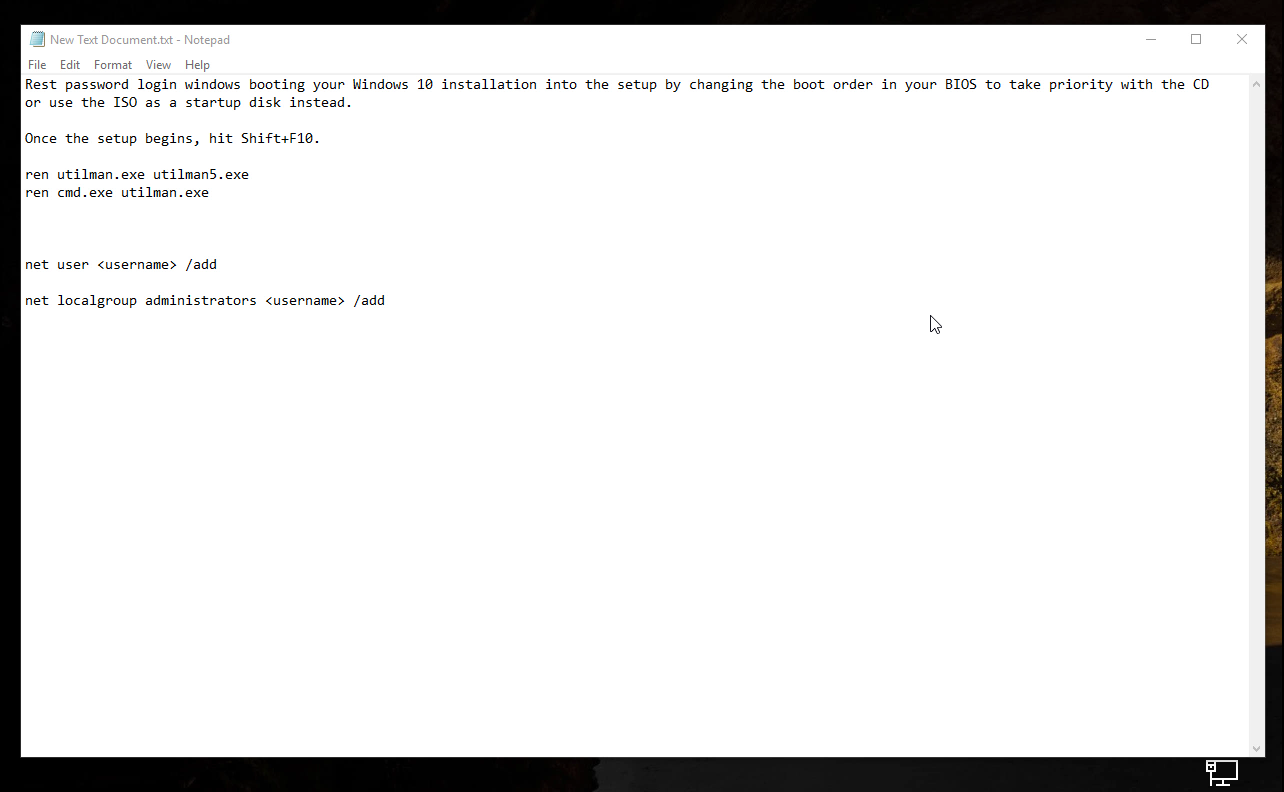 Reset password login windows 10