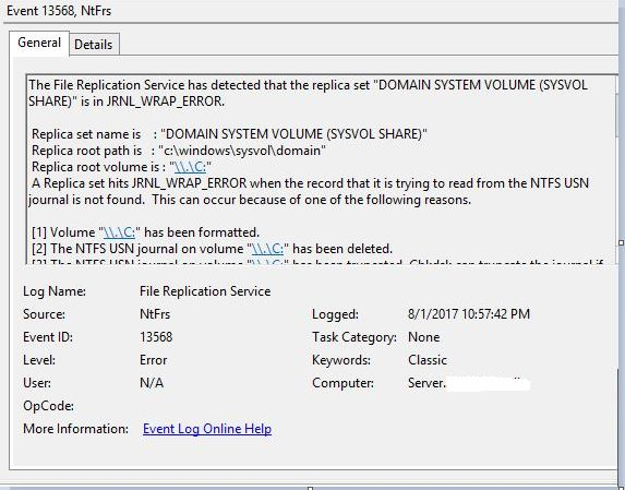 event ID 13568 domain controller